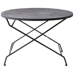 Round French Wrought Iron Folding Garden Dining Table