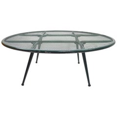 Round Garden Patio Coffee Cocktail Table Attributed to Woodard