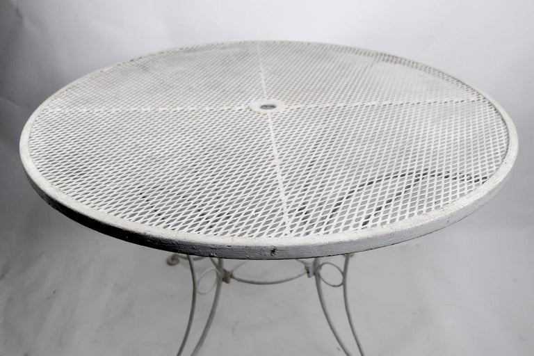 20th Century Round Garden Patio Wrought Iron Dining Table For Sale