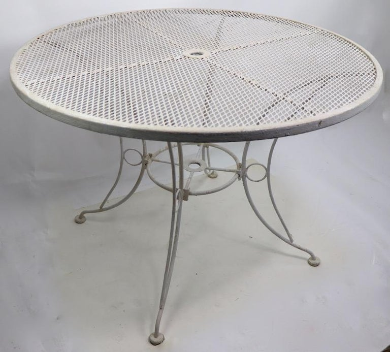Round Garden Patio Wrought Iron Dining Table For Sale 3