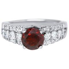 Round Garnet and White Diamond Engagement Ring