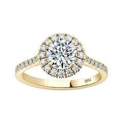 Round GIA Certified 0.60 Carat Halo Diamond Engagement Ring in 18k Yellow Gold