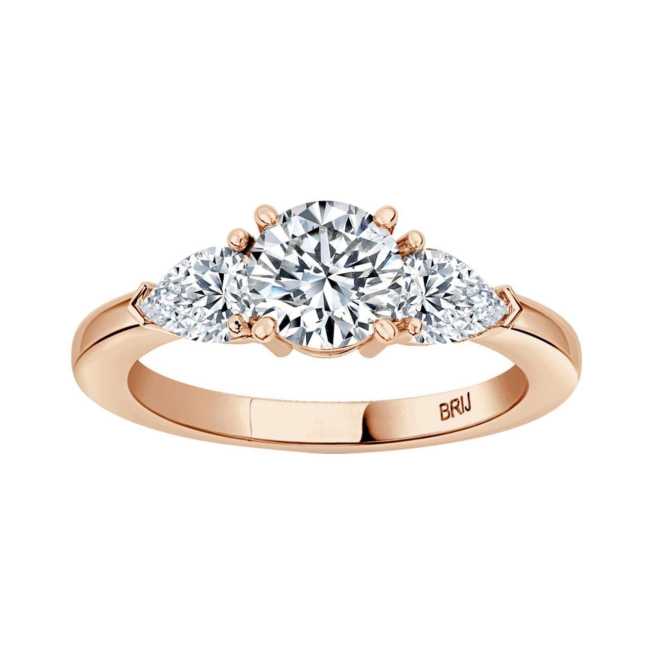 Round GIA Certified 0.80 Carat Diamond 3 Stone Engagement Ring 18K Rose Gold