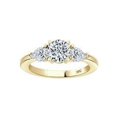 Round GIA Certified 0.80 Carat Diamond 3 Stone Engagement Ring 18k Yellow Gold