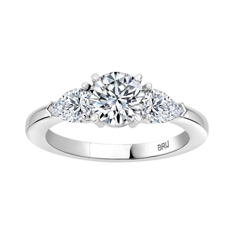 Round GIA Certified 0.80 Carat Diamond 3 Stone Engagement Ring
