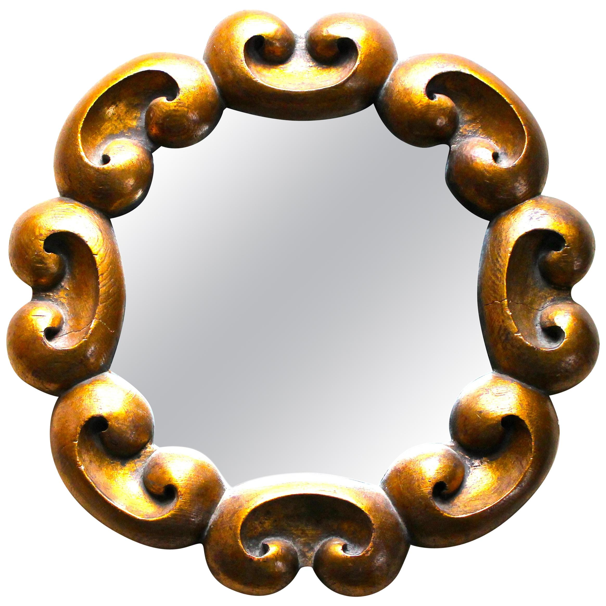 Round Gilt Mirror Italian, 1940s