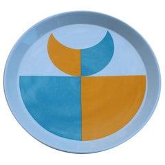 Round Gio Ponti Franco Pozzi Gallarate Decorative Plate Blue Orange, 1960
