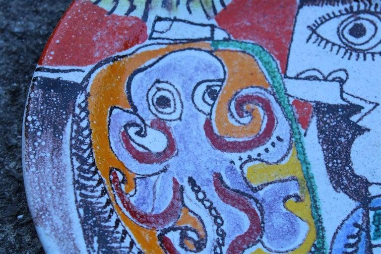 Mid-Century Modern Round Giovanni De Simone Plate Octopus Picasso Style Italian Design, 1960s For Sale