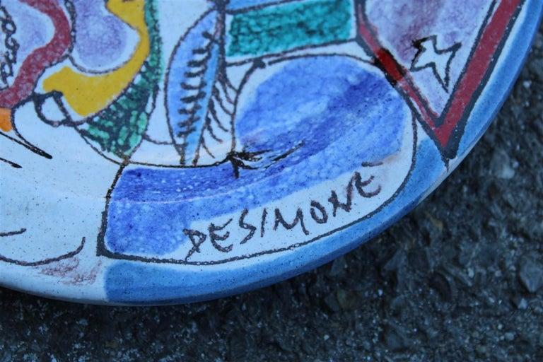 Round Giovanni De Simone Plate Octopus Picasso Style Italian Design, 1960s In Good Condition For Sale In Palermo, Sicily
