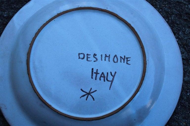 Ceramic Round Giovanni De Simone Plate Octopus Picasso Style Italian Design, 1960s For Sale
