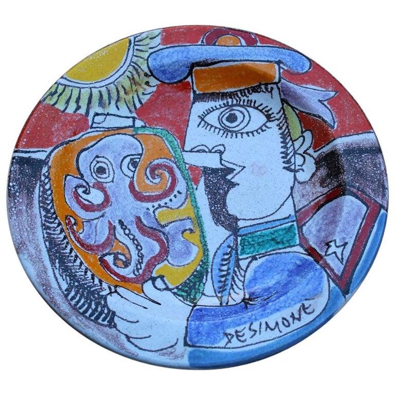 Round Giovanni De Simone Plate Octopus Picasso Style Italian Design, 1960s For Sale