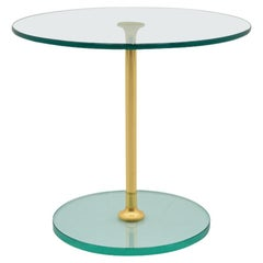 Round Glass and Brass Side Table, 1970s