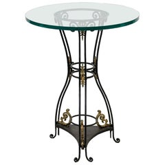 Round Glass and Iron Table