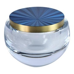 Round Glass Box with a Blue Straw Marquetry and Brass Lid by Ginger Brown