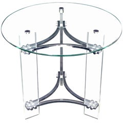 Round Glass Chrome & Lucite Occasional Side End Table Stand Charles Hollis Jones