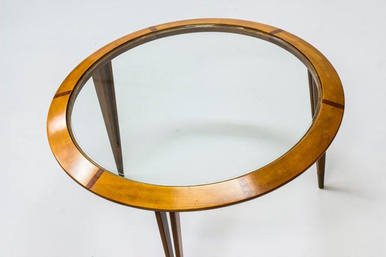 Scandinavian Modern Round Glass Coffee Table by Bertil Fridhagen for Bodafors, Sweden, 1940s For Sale