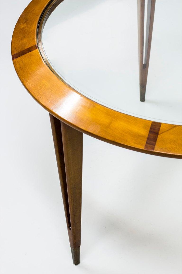 Swedish Round Glass Coffee Table by Bertil Fridhagen for Bodafors, Sweden, 1940s For Sale