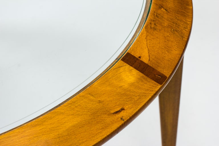 Mid-20th Century Round Glass Coffee Table by Bertil Fridhagen for Bodafors, Sweden, 1940s For Sale