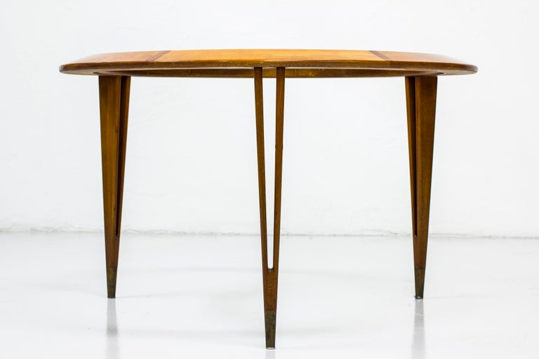 Brass Round Glass Coffee Table by Bertil Fridhagen for Bodafors, Sweden, 1940s For Sale