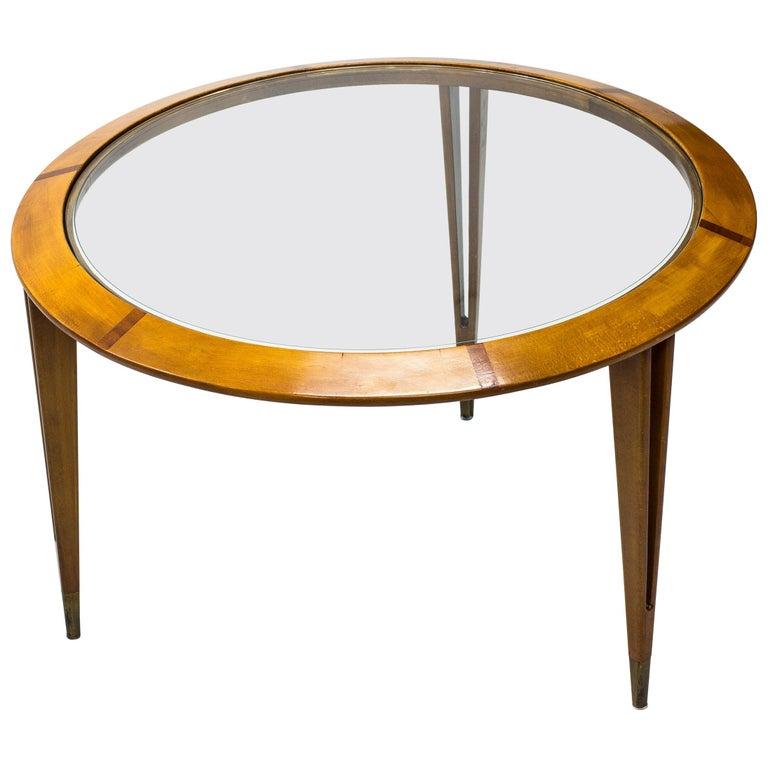 Round Glass Coffee Table by Bertil Fridhagen for Bodafors, Sweden, 1940s For Sale