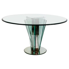 Round Glass Dining or Center Table Attributed to Pietro Chiesa for Fontana Arte