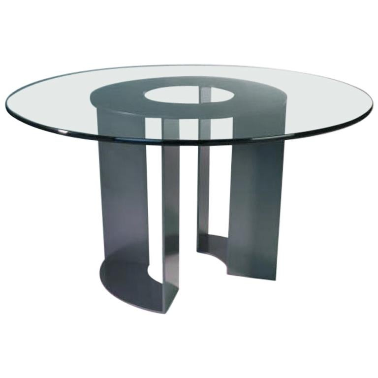 Round Glass Dining Table Base By Antoine Proulx For Sale At 1stdibs