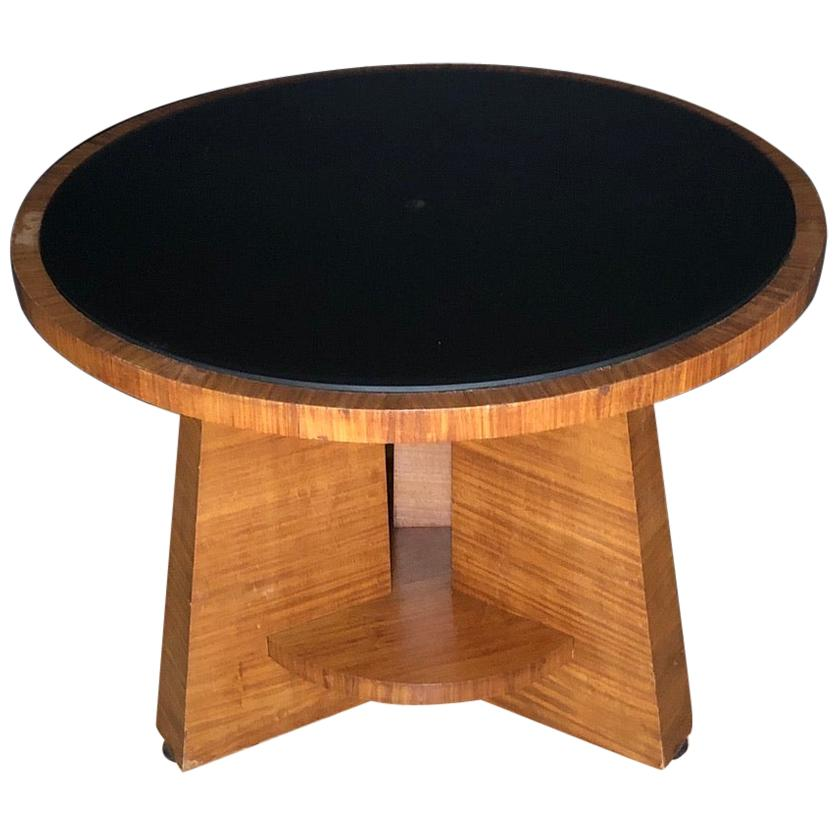 Round Glass Top Art Deco Side Table