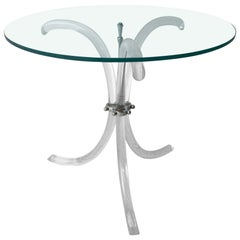 Round Glass Top, Chrome Accents & Lucite Tripod Legs Side /End /Occasional Table