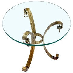 Round Glass Top Gold Gilt Tripod Wrought Iron Base Side End Table