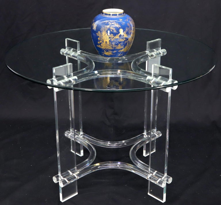 Round Glass Top Lucite Base Dining Dinette Table For Sale 5