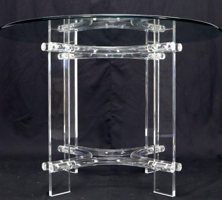 Mid-Century Modern Round Glass Top Lucite Base Dining Dinette Table For Sale