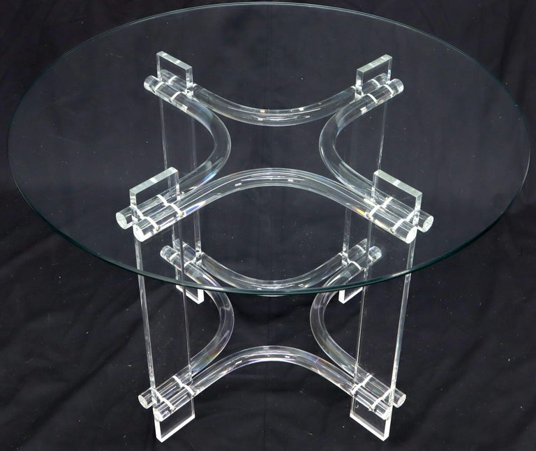 American Round Glass Top Lucite Base Dining Dinette Table For Sale