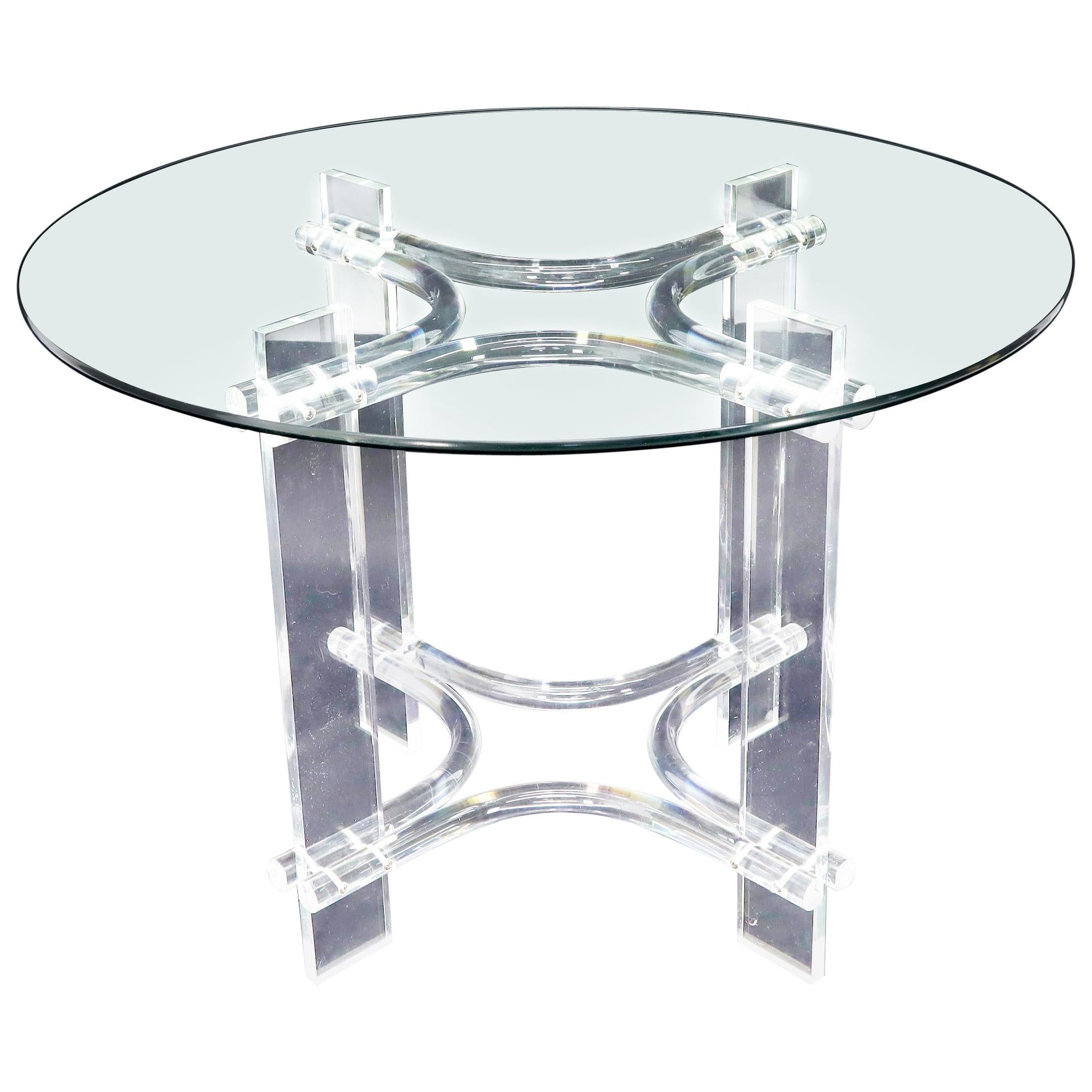 Round Glass Top Lucite Base Dining Dinette Table