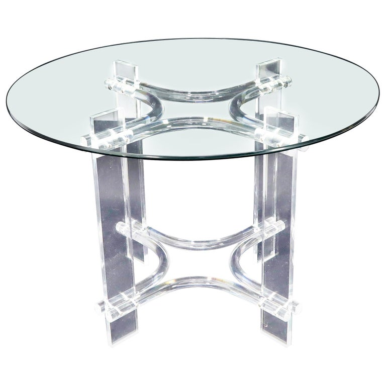 Round Glass Top Lucite Base Dining Dinette Table For Sale