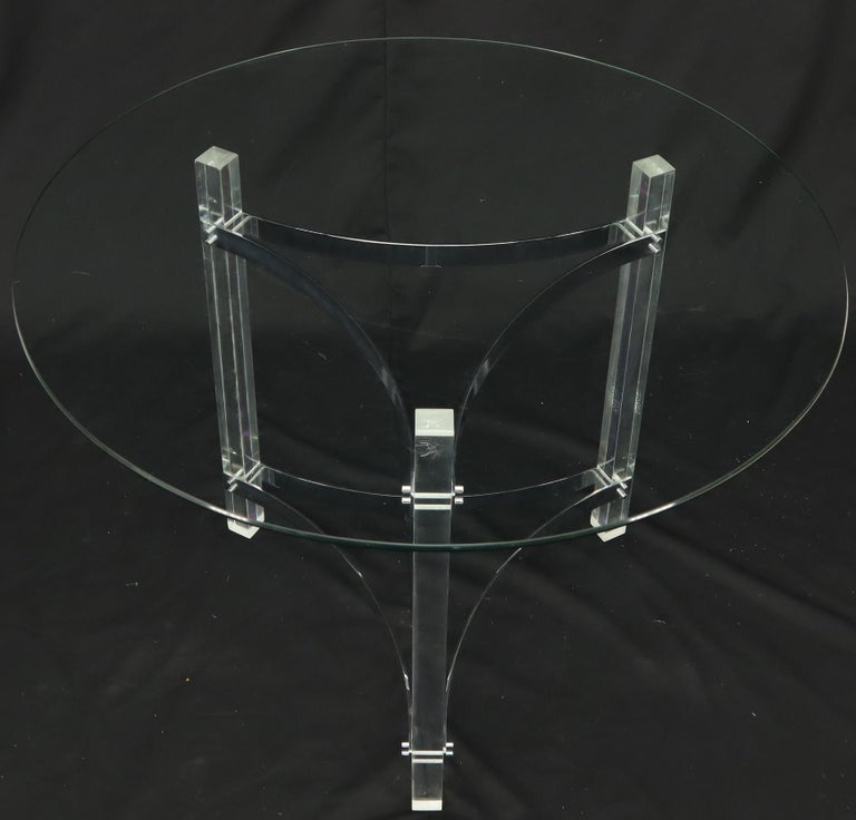 Round Glass Top Lucite Base Gueridon Center Cafe Dining Table For Sale 4
