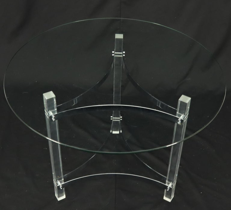 Mid-Century Modern Round Glass Top Lucite Base Gueridon Center Cafe Dining Table For Sale