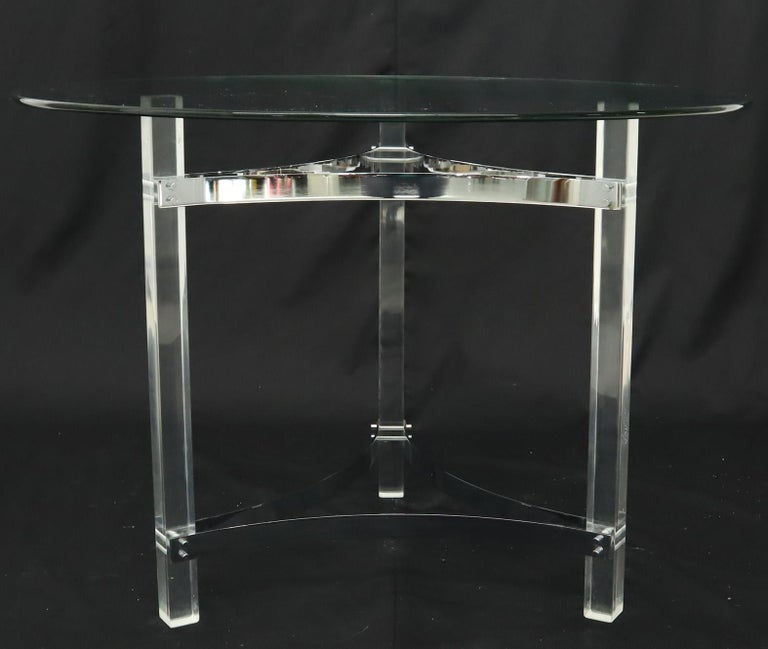 American Round Glass Top Lucite Base Gueridon Center Cafe Dining Table For Sale