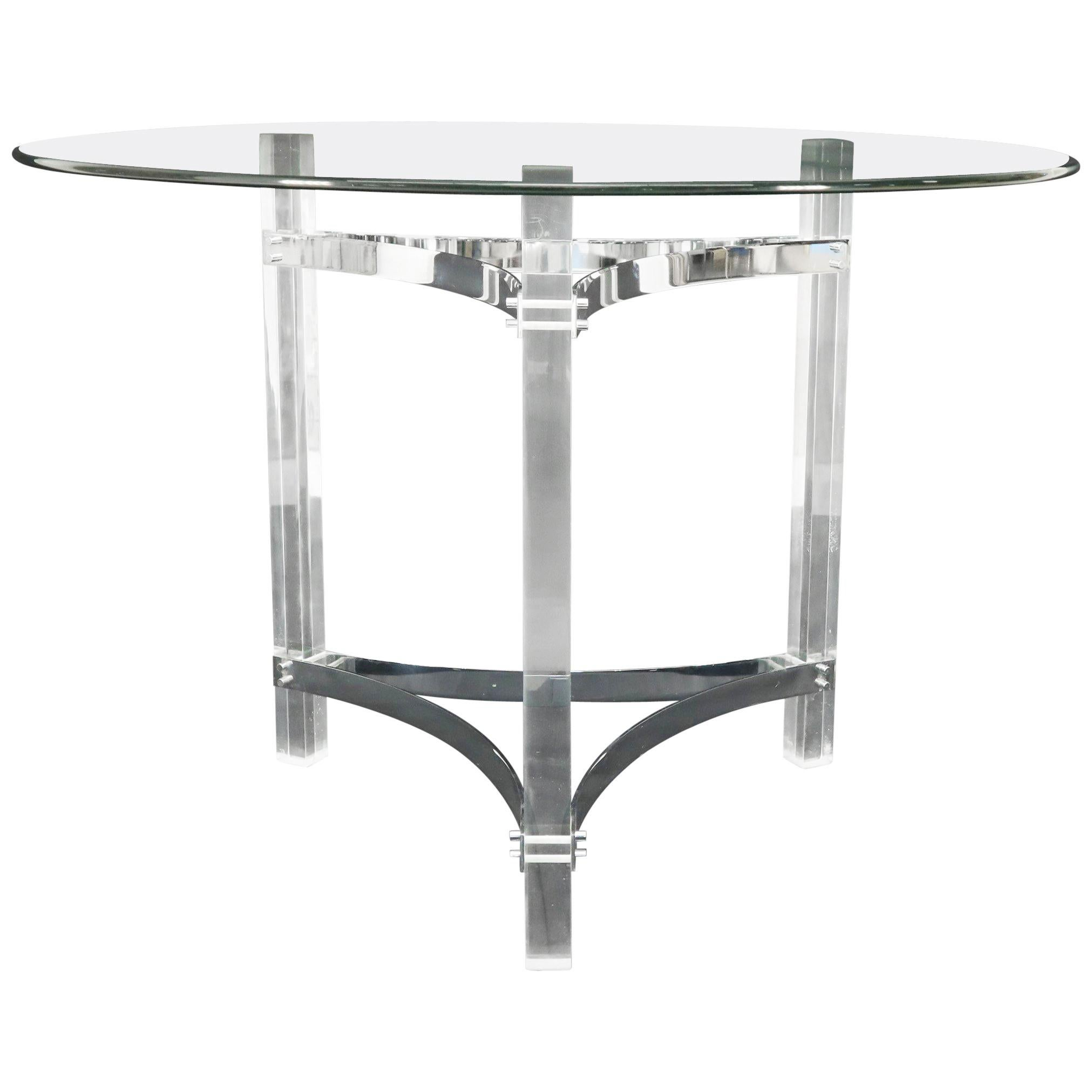 Round Glass Top Lucite Base Gueridon Center Cafe Dining Table