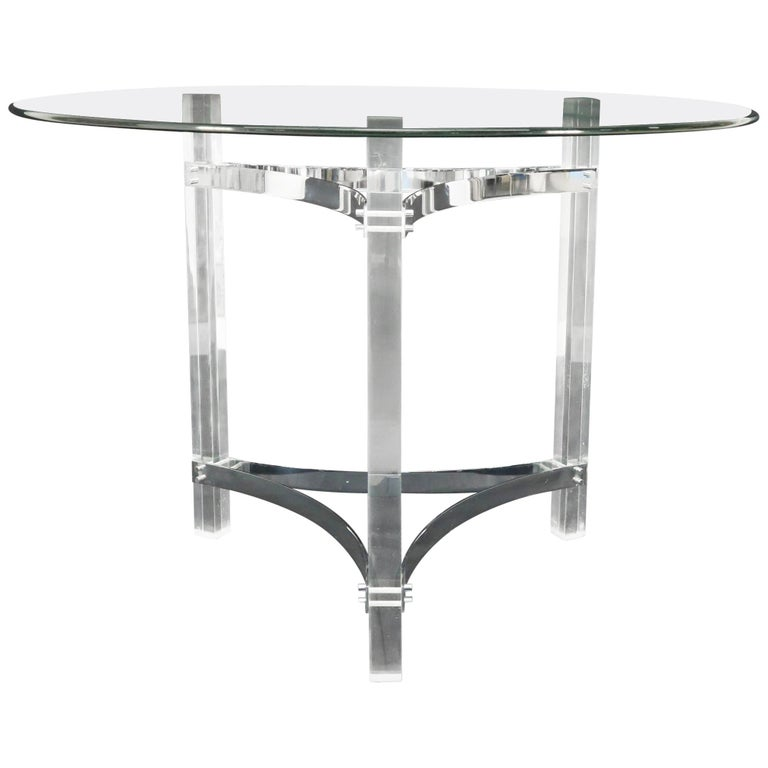 Round Glass Top Lucite Base Gueridon Center Cafe Dining Table For Sale