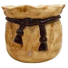 Round Glazed Ceramic Planter with Ribbon Tassel Motif in Brown