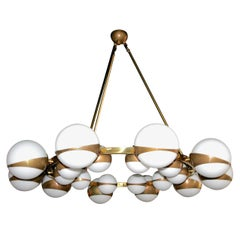 Round Globe Chandelier with White Glass Balls on Brass Frame