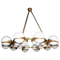 Round Globe Chandelier with White Glass Balls on Brass Frame