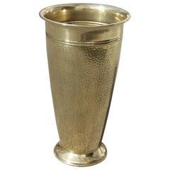 Round Gold Brass Hammered Umbrella Stand Italian Midcentury Design