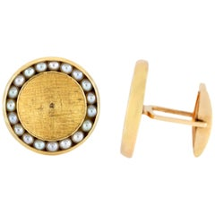 Round Gold Cufflinks with Pearls