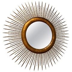 Round Gold Gilt Metal Starburst Mirror, Spain, 1960s
