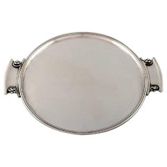 "Round ""Grape"" Tray with Handles in Art Nouveau Style, Model Number 296"