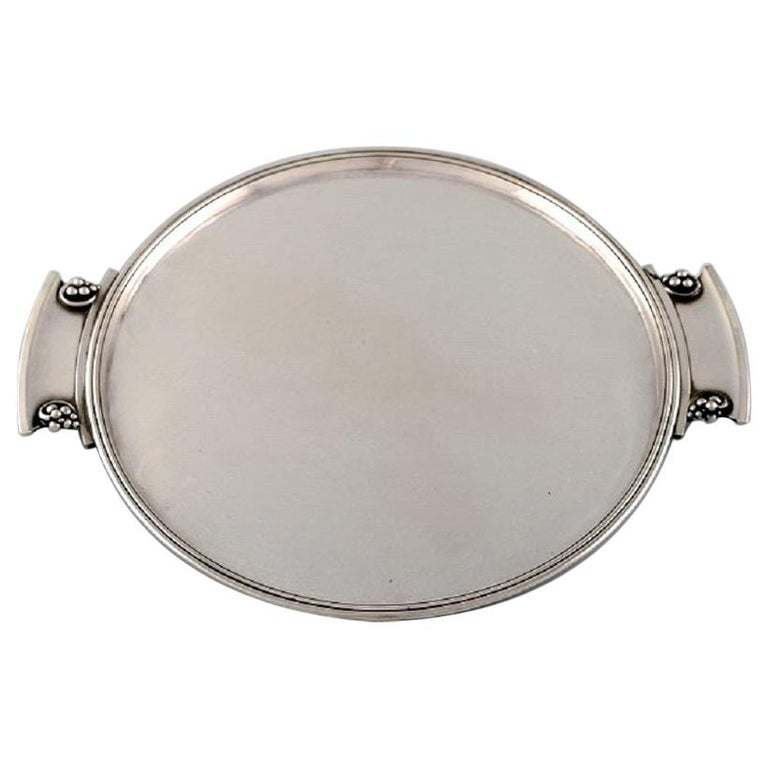 "Round ""Grape"" Tray with Handles in Art Nouveau Style, Model Number 296 For Sale"