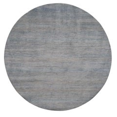 Round Grass Design Wool and Silk Hand Knotted Oriental Rug