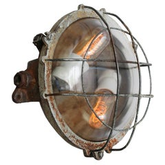 Round Gray Cast Iron Vintage Industrial Clear Glass Wall Lamps Scones