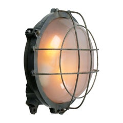 Round Gray Cast Iron Vintage Industrial Frosted Glass Wall Lamp Scone